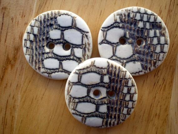 Honeycomb textured porcelain buttons.XL buttons.Focal Buttons.
