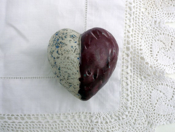 Small ,Fat,Pink and White,Porcelain Heart, Affordable Art. OOAK: