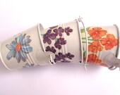 Decoupaged Egg Holders, Tabletop Tins, Altered Art Tins, Vintage Inspired Tins, Spring Flowers Home Decor, Shabby Chick Home Decor, Set of 3