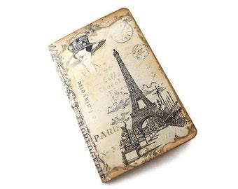 Mini Paris Journal, Cottage Chic Notebook, Vintage Paris Pocketbook, Eiffel Tower Jotter, Altered Art Journal, Parisian Diary