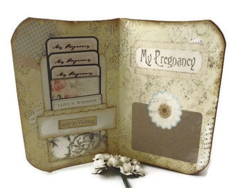 Pregnancy Journal, Maternity Journal, Vintage Style, Pregnancy Scrapbook or Memory Book, Motherhood, Maternity Gift, MADE TO ORDER
