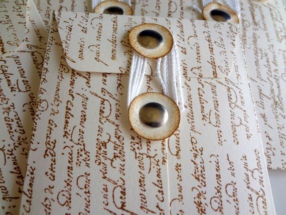 Coin Envelopes Hand Stamped, Paris Script Coin Envelopes, Journaling Coin Envelopes, Vintage Paris String Tie Envelopes, Set of 6