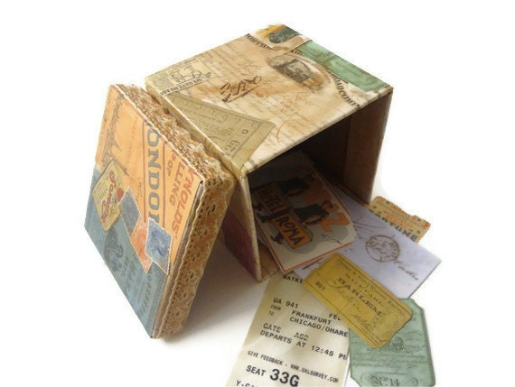 Travel Keepsake Box, Paper Mache Box, Vintage Keepsake, Decoupage Gift Box, Decorative Box, Upcycled,OOAK