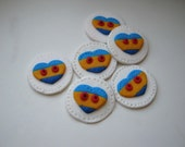 Handmade polymer clay buttons with hearts ( 6 )
