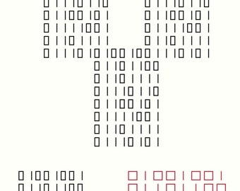 "Cross stitch PATTERN -- Binary Heart ""I love you"""