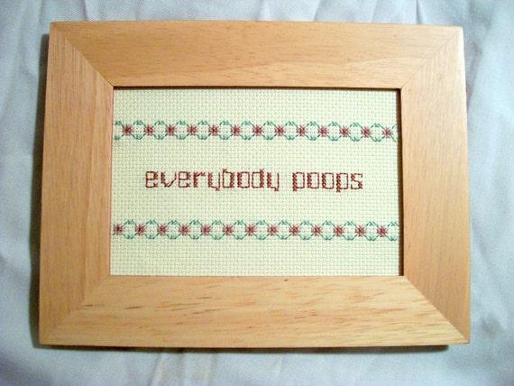 Everybody Poops cross stitch -- bathroom, nursery, children's book decor