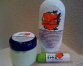 Green Spa Sampler Set - Ultra Premium Hydrating Lotion, Whipped Bath Butter Scrub, and Lip Joy Pura Gioia
