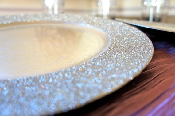 Two Head Table Place Settings: Light Gold Glitter Chargers