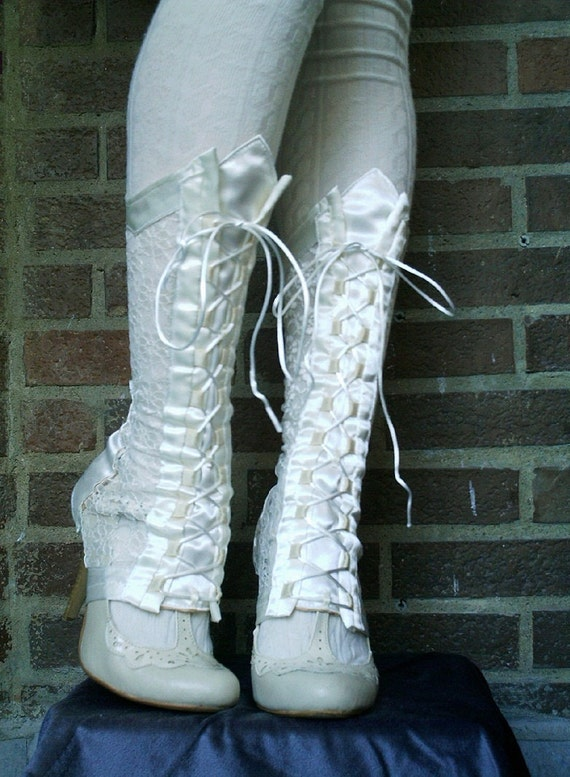Ivory or black satin and lace gaiters with front lacing to fit gothic, victorian, steampunk or lolita looks