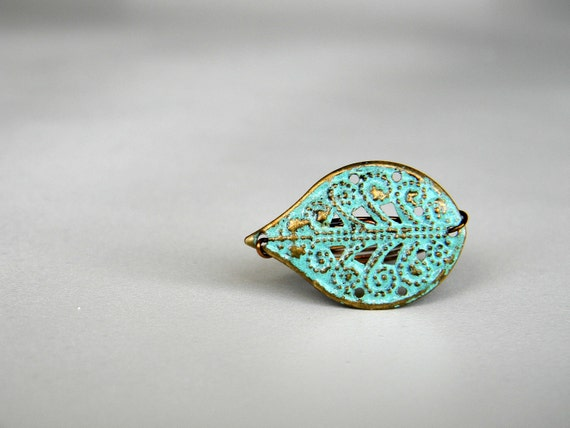 The Robin: Light Blue Leaf & Bronze Wire Ring
