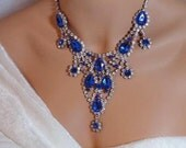 RESERVED For ALEXI BLACKWELL Gorgeous Big Blue Mouth Watering Bib Necklace 2126ag-121611100
