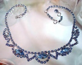 Blue Rhinestone Necklace - 1950's Continental Signed Formal Prom Style   1350ag-012312000