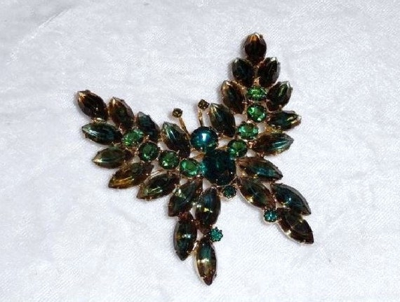 Blue-Green Rhinestone Butterfly Brooch Large  OUTSTANDING  1935ag-012312000