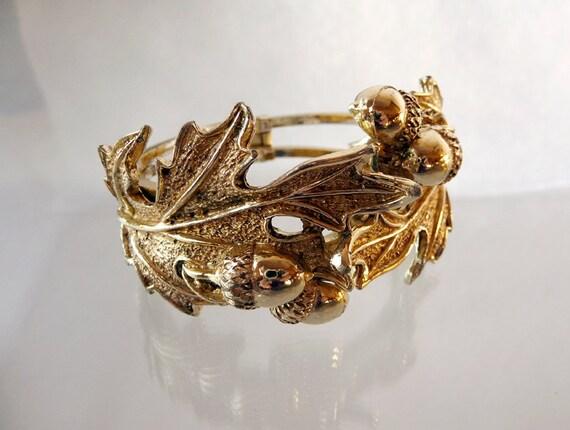 Reserved for Jackie )  Acorn & Oak Leaves Hinged Cuff Bracelet 1137ag-012312000