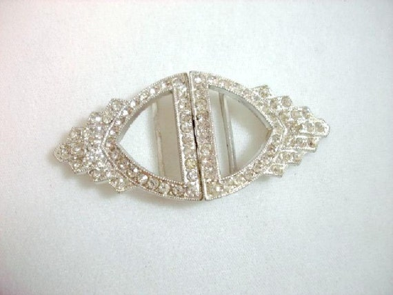 Art Deco Rhinestone Belt Buckle  1265ag-012312000