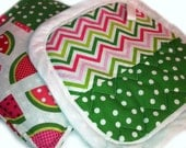 Pot Holders Set of 2 featuring Chevron and Watermelon Prints