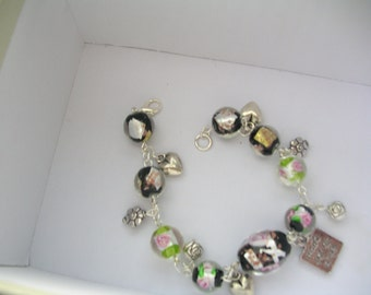 Ladies Charm Bracelet, silver bracelet, flower bracelet, gift for her, glass bead bracelet, charms, matching watch