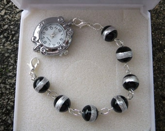 Ladies black and silver bracelet watch, Ladies watch, black watch, gift for her, mother's day gift, bracelet watch, silver watch.