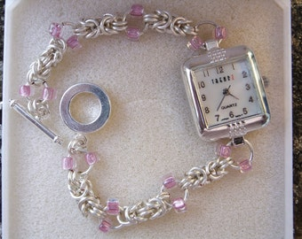 Byzantine chainmaille watch with Mauve seed beads, Chainmaille watch, ladies watch, gift for her, silver watch, watch, byzantine