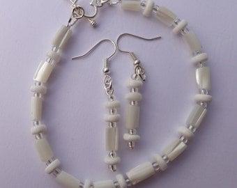 White troca shell Bridal bracelet