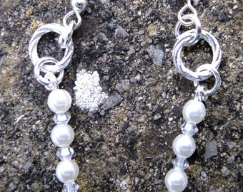 Swarovski White Pearls and Crystal Earrings