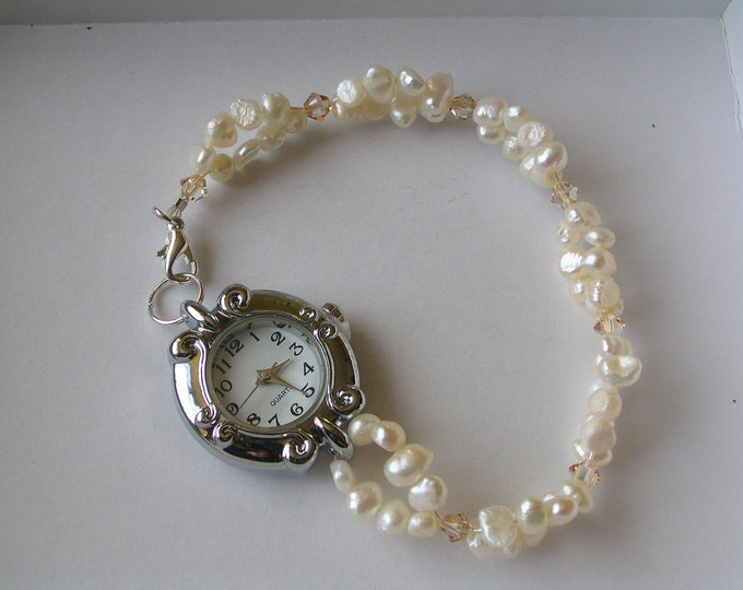 Featured listing image: Ivory Freshwater Pearl Swarovski Crystal Watch, bridal watch, Pearl watch, freshwater pearl watch, pearl jewellery, Ivory pearls, wedding