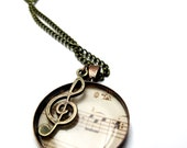 Music necklace, antiqued bronze necklace with music and treble clef charm.