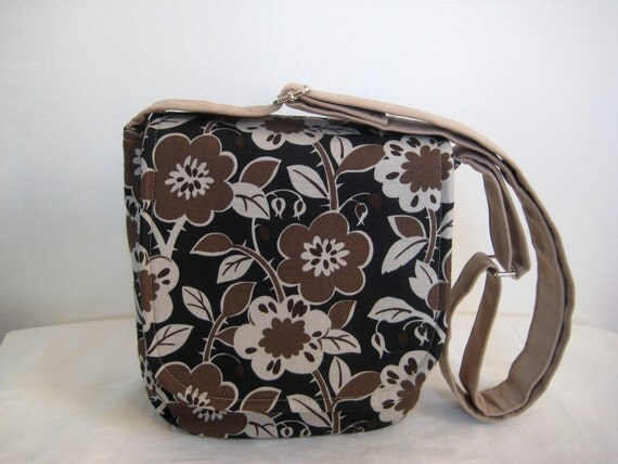 Sale Messenger Bag in Japanese Canvas--Brown and Taupe Floral Print