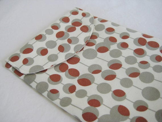 iPad sleeve, iPad Case, iPad Cover, with Flap, in Amy Butler Retro Dot print, Ready to Ship