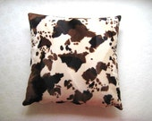 "Fall Home - Polyester Velvet Cream Pillow Cover with Brown and Cinnamon Cow Skin Print - 18x18"" - Gift for Her, for Mom - Ready to Ship"