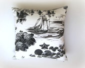 "Linen White and Gray Pillow Cover - Grey and White Sea Scenery Print - 18x18"" - Gift for Her, for Mom - Ready to Ship"