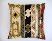 """Tribal Pillow Cover - Cream, Mustard Yellow, Green and Black Ethnic Figures Print - 18x18"""" - Gift for Her, for Mom"""