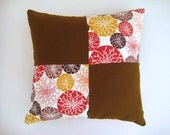 "Patchwork Pillow Cover - Cream, Brown, Red, Mustard Yellow Linen Fabric - 18x18"" - Gift for Her, for Mom - Ready to Ship Decor"