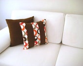 "Patchwork Pillow Cover - Cream, Brown, Orange, Beige Linen Fabric - 16x16"" - Gift for Her, for Mom - Ready to Ship Decor"