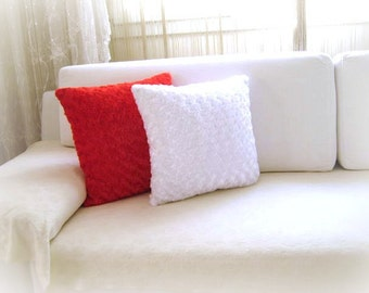 """White Pillow Cover - 18x18"""" - Gift for Her - Ready to Ship Decor - So Soft..."""