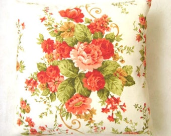 "Shabby Chic Home - Linen Cream Pillow Cover with Green Orange Flowers Bouquet Print - 16x16"" - Gift for Her"