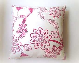 """Linen White and Pink Pillow Cover - White and Pink Floral Print - 18x18"""" - Gift for Her, for Mom - Ready to Ship"""