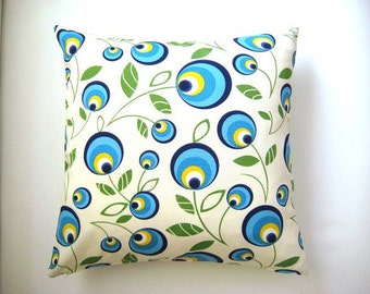 """Blue Pillow Cover - Cream Linen with Blue, Green and Yellow Peacock or Lucky Eye Print on it - 18x18"""" - Gift for Mom - Ready to Ship"""