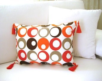 """Linen Orange Pillow Cover - White with Orange, Brown, Beige Circles Print - 18.5x13.5"""" - Gift for Her, for Mom - Ready to Ship Decor"""
