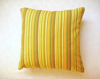 """Linen Yellow Pillow Cover with Yellow, Green, Orange and White Stripes Print - 18x18"""" - Gift for Her - Ready to Ship Decor"""