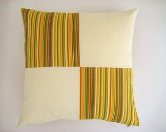 """Patchwork Pillow Cover - Yellow, Green and Cream Linen Fabric - 18x18"""" - Gift for Her, for Mom - Ready to Ship Decor"""