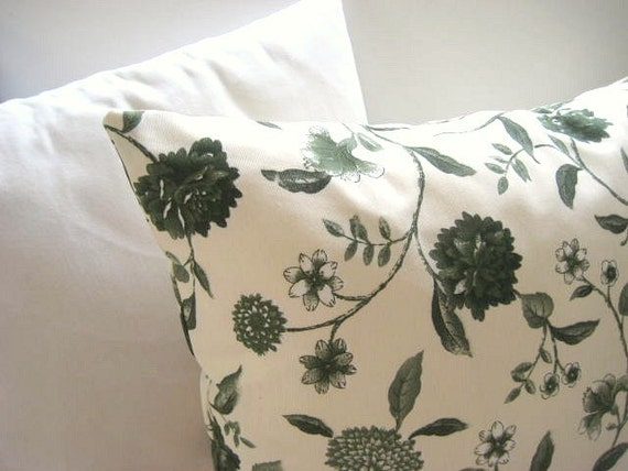 French Country Home - Linen Cream Pillow Cover with Green Floral Print - Gift for Her, for Mom - Ready to Ship