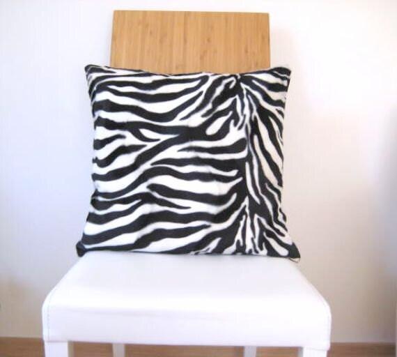 """Velvet Zebra Pillow Cover - Black and White Pillow Cover with Zebra Animal Print - 18x18"""" - Gift for Her, for Mom - Home Decor"""