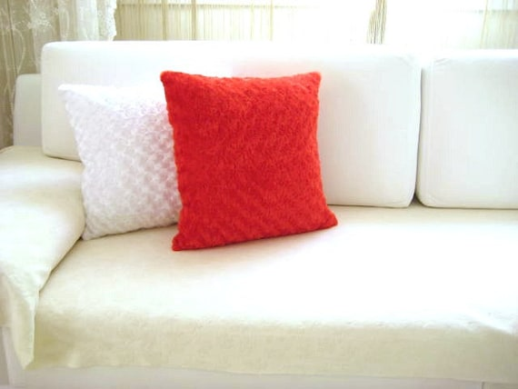 "Red Pillow Cover - 18x18"" - Gift for Her - Ready to Ship Decor - So Soft..."