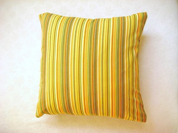 "Linen Yellow Pillow Cover with Yellow, Green, Orange and White Stripes Print - 18x18"" - Gift for Her - Ready to Ship Decor"