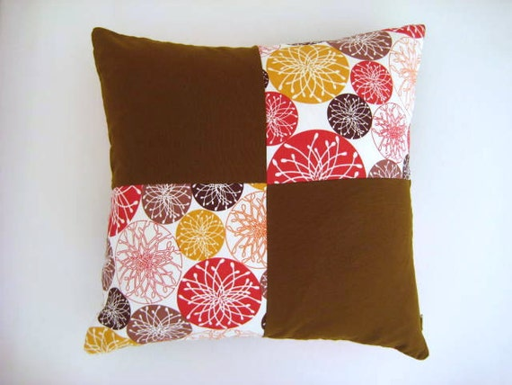 """Patchwork Pillow Cover - Cream, Brown, Red, Mustard Yellow Linen Fabric - 18x18"""" - Gift for Her, for Mom - Ready to Ship Decor"""
