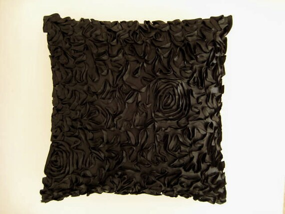 "Black Pillow Cover with Curly Pattern like Flowers - 18x18"" - Gift for Her, for Mom - Ready to Ship"