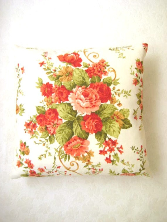 Shabby Chic Home Linen Cream Pillow Cover with Green Orange