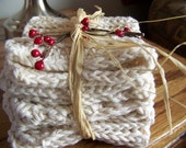 Set of 3 Ecru 100% Cotton Crocheted Dish Cloths Packaged for Gift Giving
