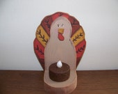 Primitive Wooden Turkey Tealight Holder for Fall and Thanksgiving